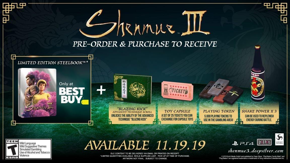 Shenmue 3 steelbook Best Buy preorder bonus