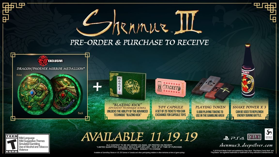Shenmue 3 Dragon Medallion Gamestop EB Games preorder bonus