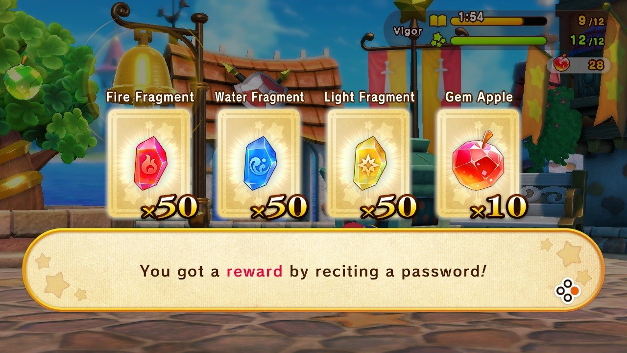 By entering passwords like SUPERKIRBYCLASH, you'll receive rewards including Gem Apples and Fragments.