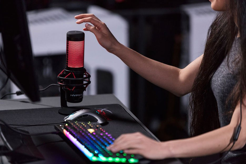 Valkyrae using the HyperX QuadCast