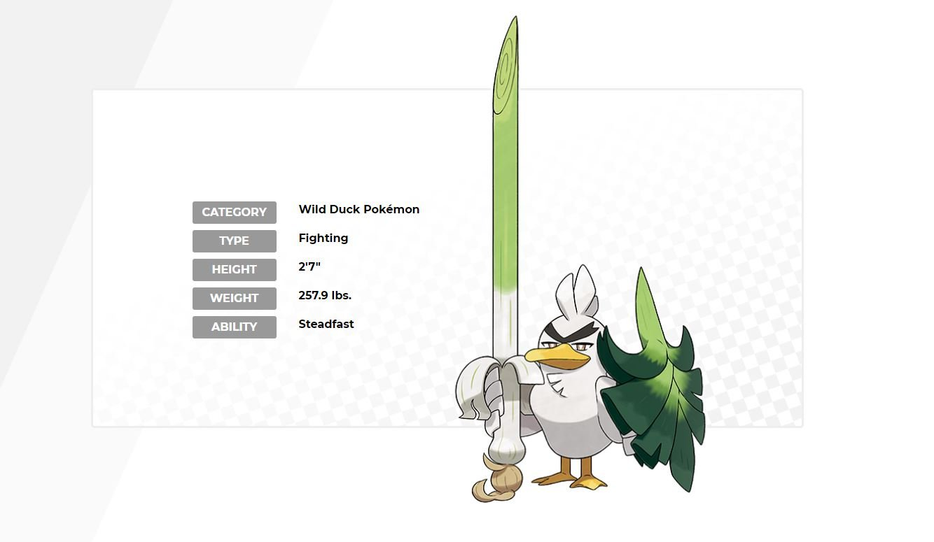 Sirfetch'd revealed as a Pokemon Sword exclusive