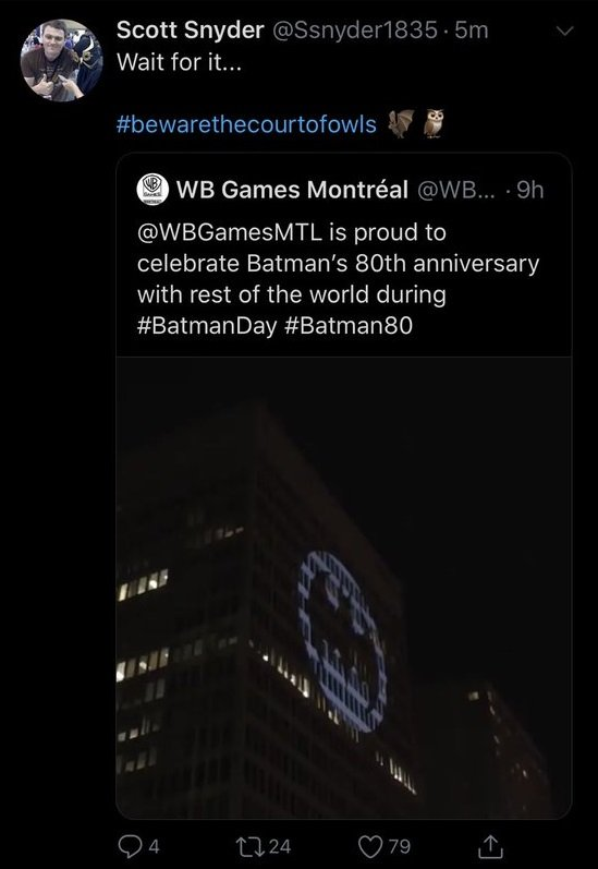 Court of Owls co-creator Scott Snyder retweeted WB Montreal's tweet.