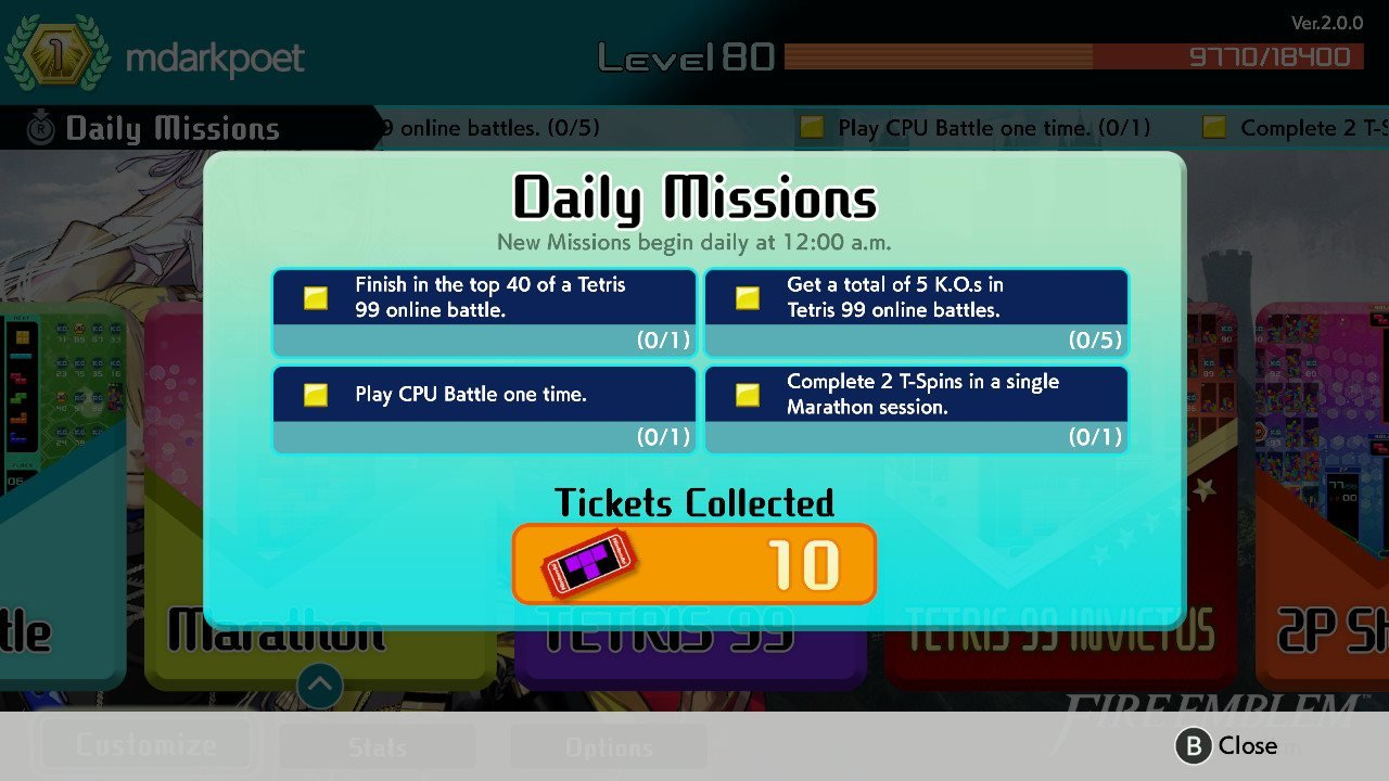 How to earn Tickets in Tetris 99
