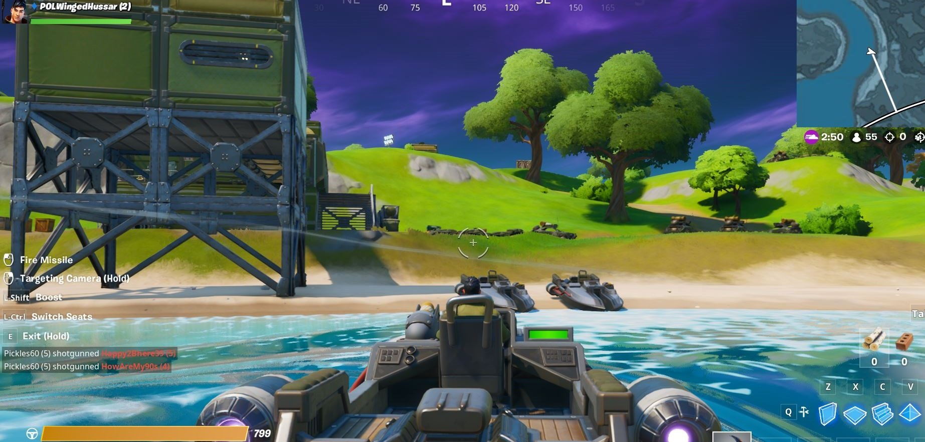 Right before you reach Sweaty Sands, you'll find a few boats near a green outpost building.