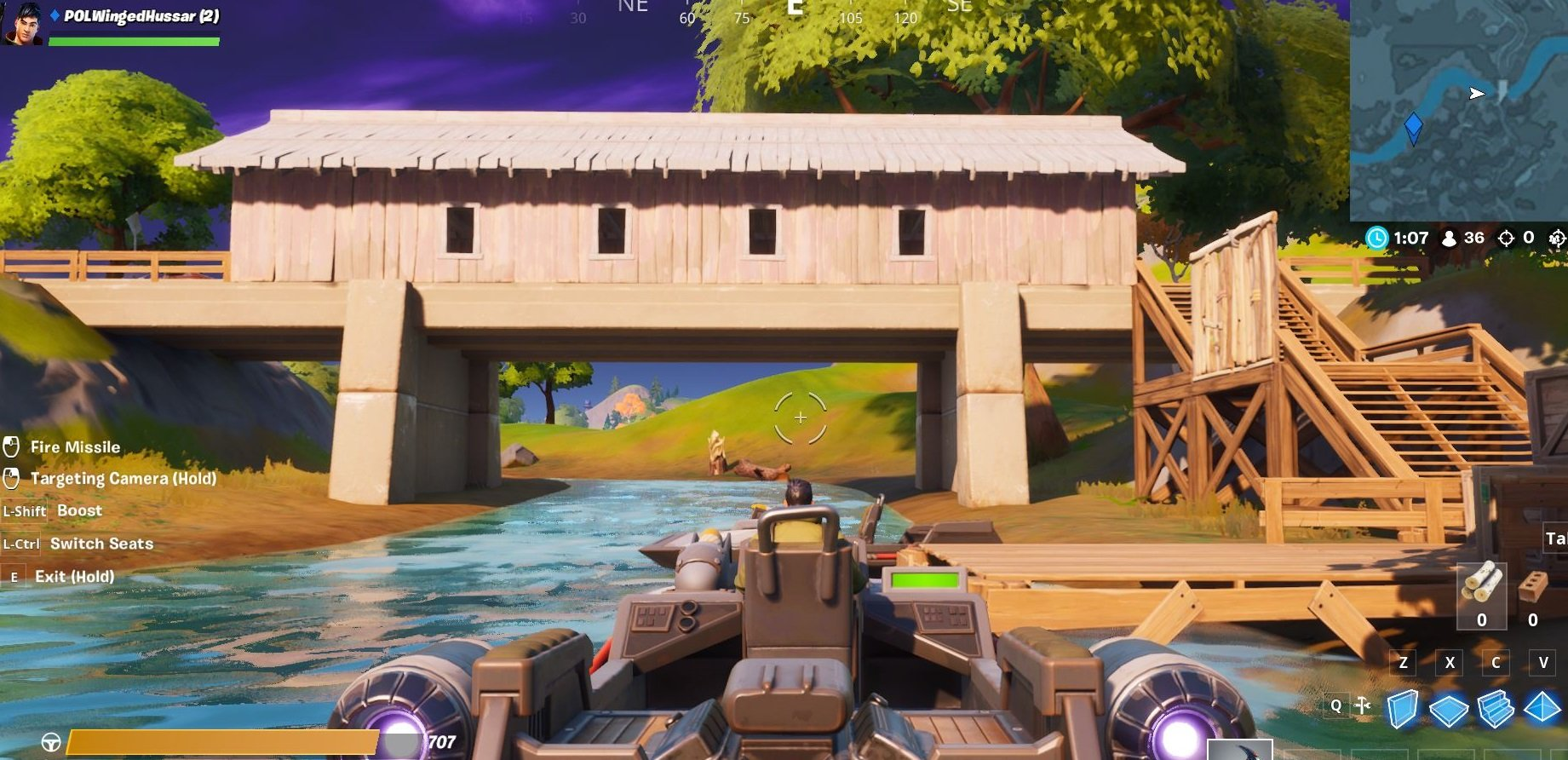 Boats can typically be found near bridges, like this wood bridge near the center of the Fortnite Chapter 2 map.