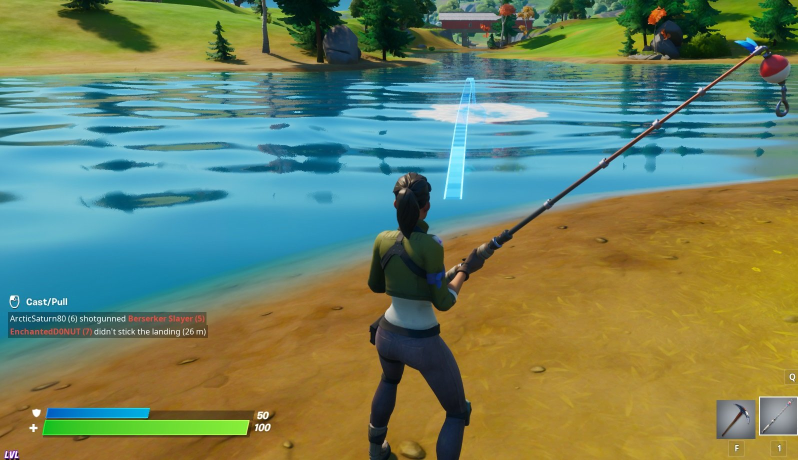 Cast your Fishing Rod line in Fortnite Chapter 2 using RT on Xbox One, R2 on PS4, or Left-Click on PC. You can hold to see where the line is going to land in the water.