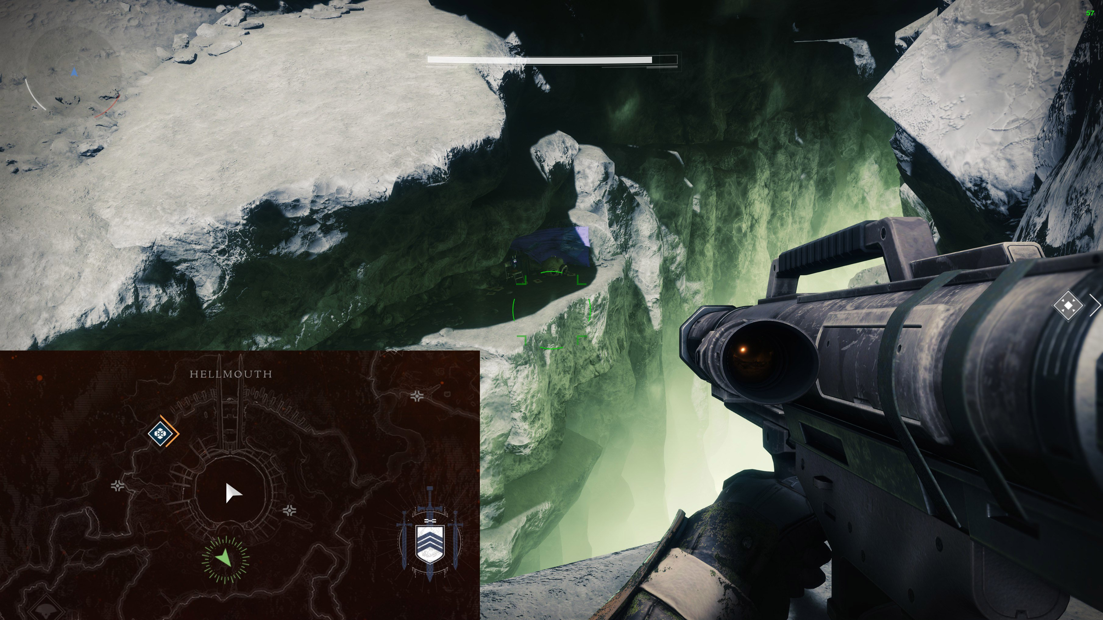 This Destiny 2 Jade Rabbit in the Hellmouth area is chilling on a ledge