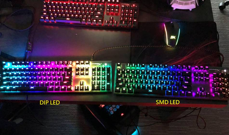 HyperX's Alloy Origins keyboard at the product testing phase with DIP and SMD LEDs built into the switches. © HyperX