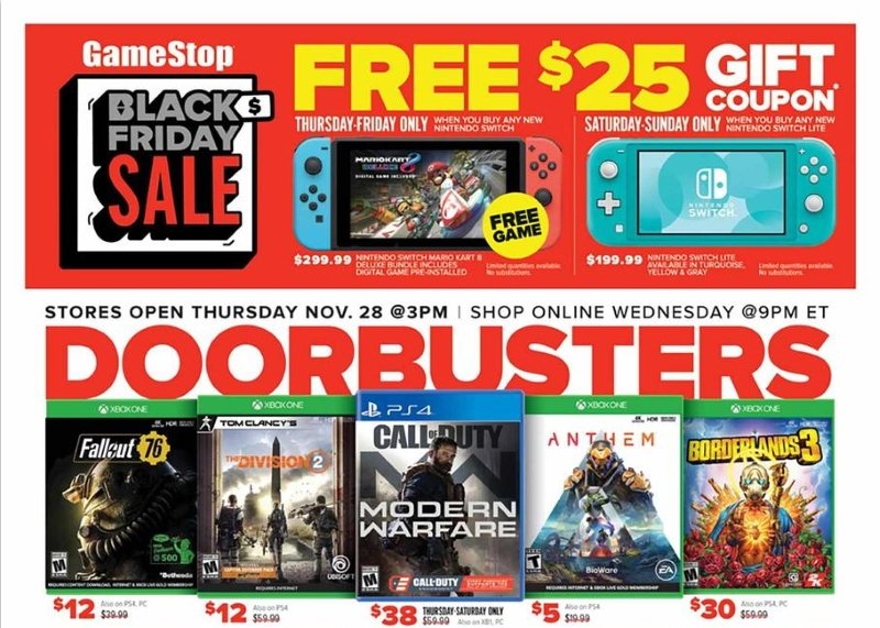 Gamestop black friday 2019 ad deals