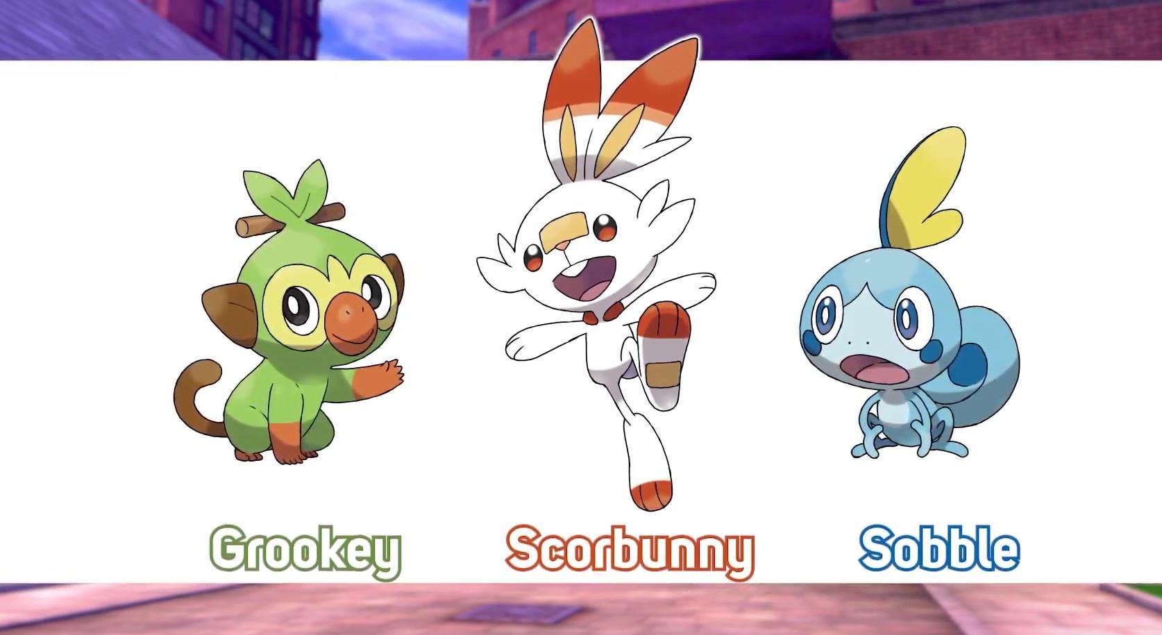 Pokemon Sword and Shield Starter Pokemon and Evolutions of Sobble Scorbunny Grookey