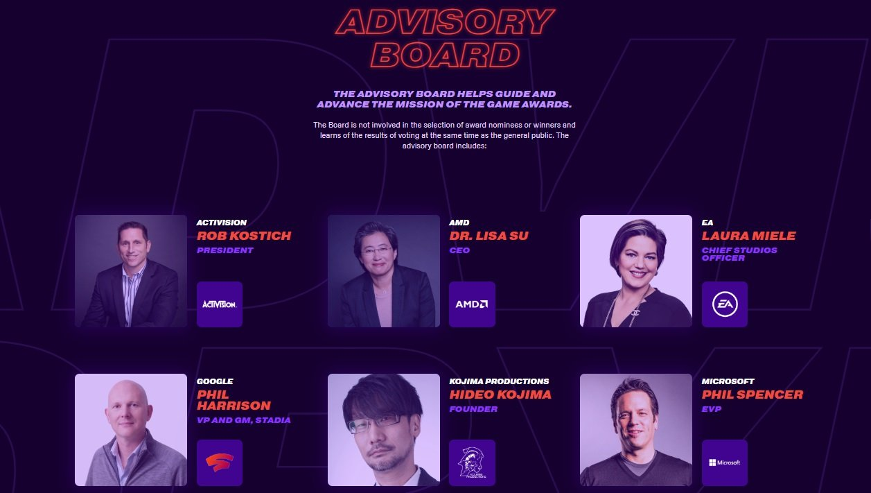 Both Hideo Kojima and Phil Harrison are part of the Advisory Board for The Game Awards.