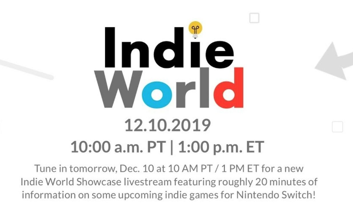 Nintendo hosting Indie World Showcase on December 10