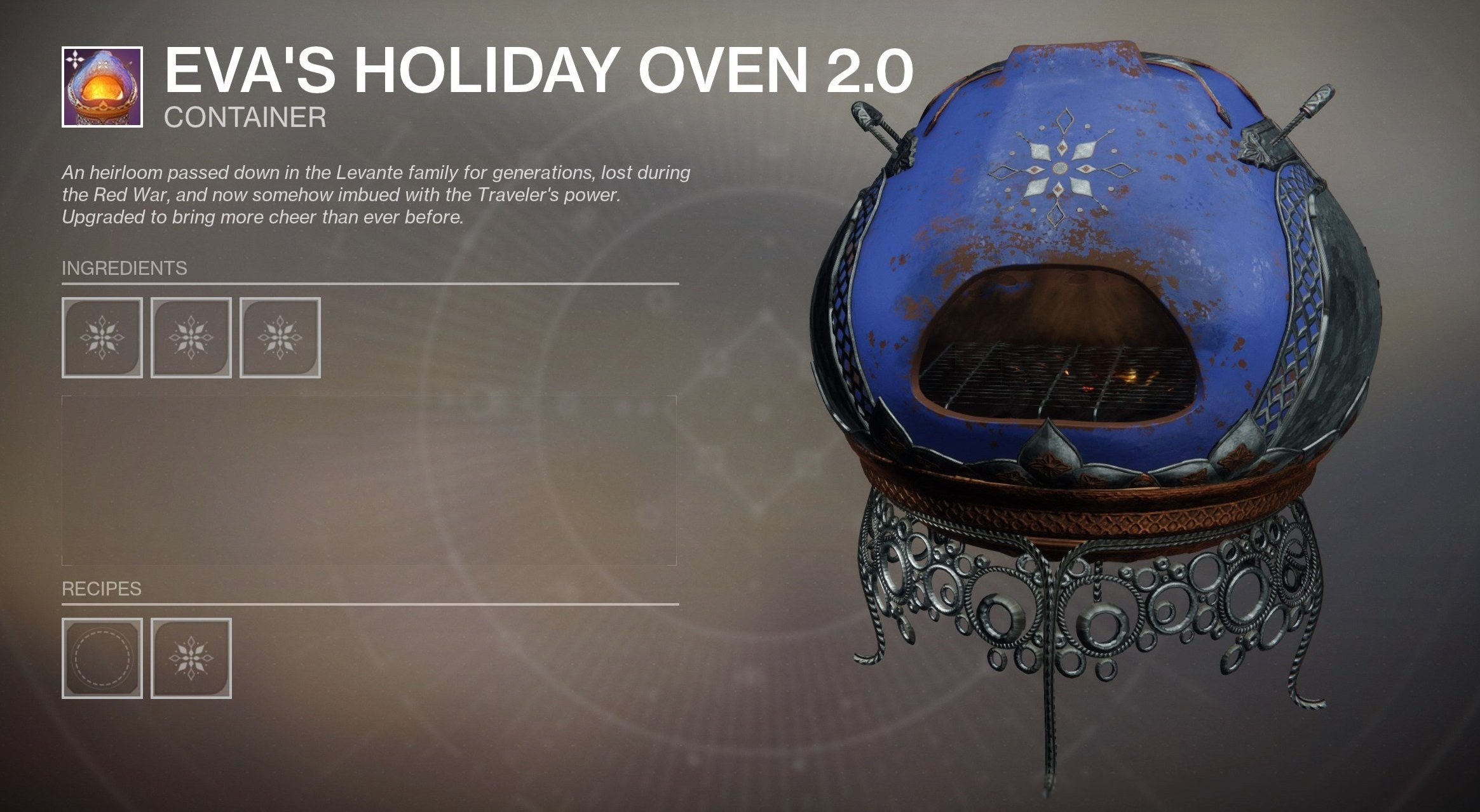 Where to get the Masterwork Oven in Destiny 2