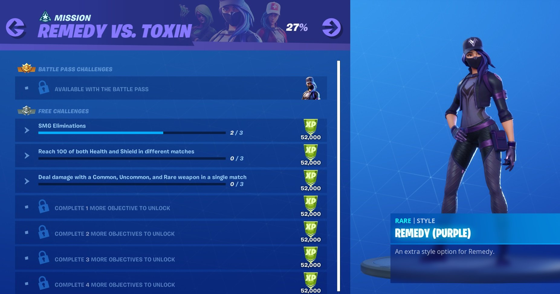 Fortnite Remedy vs. Toxin challenge list
