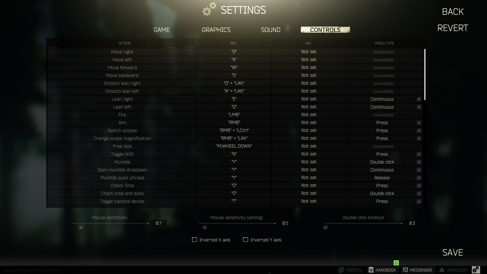 All PC controls in Escape From Tarkov