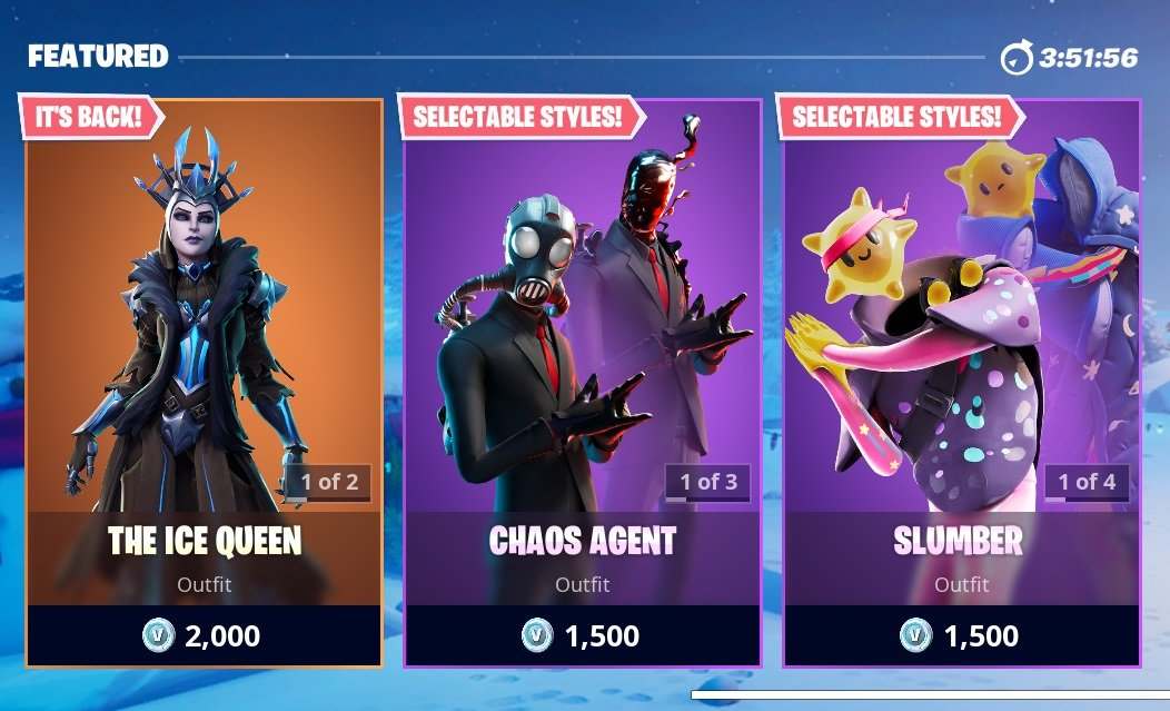 Some of the Featured Items available in Fortnite's Item Shop today.