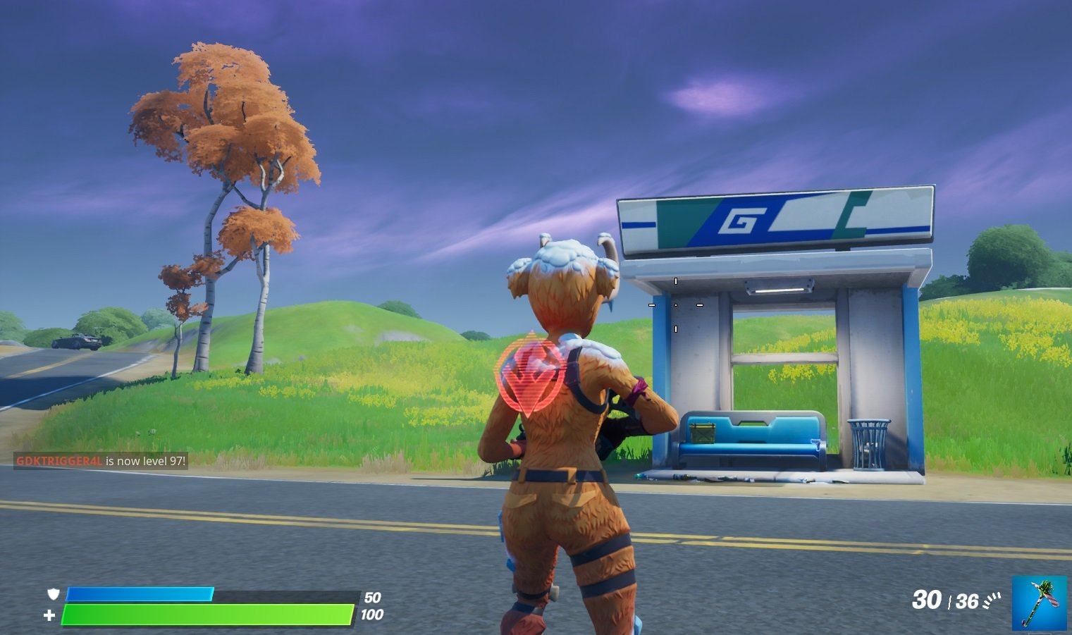 Bus Stop location outside of Pleasant Park in Fortnite