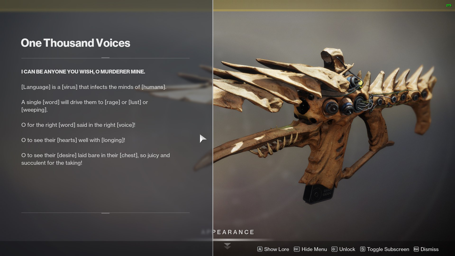 Get One Thousand Voices in Destiny 2 1k voices