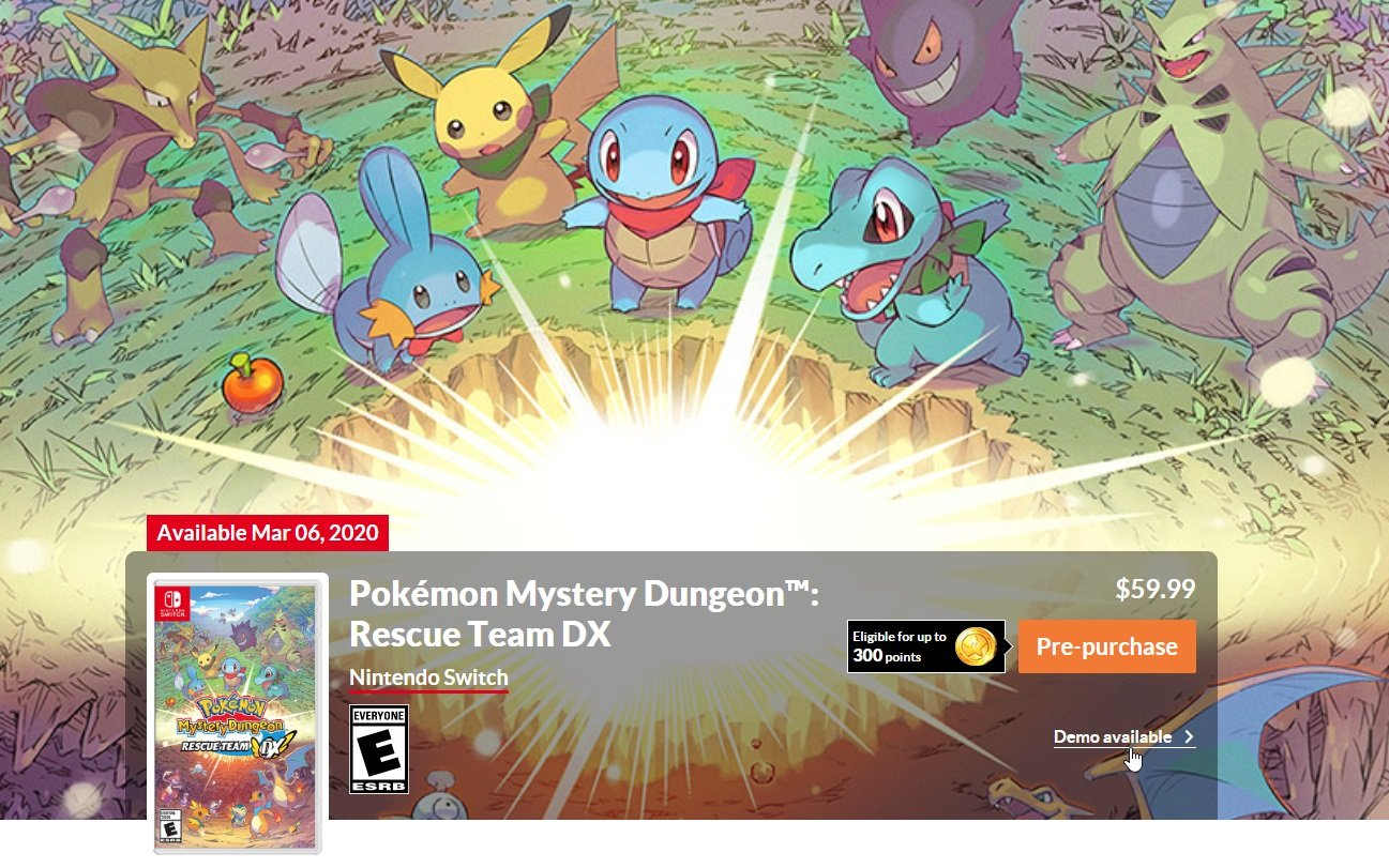 How to get the Pokemon Mystery Dungeon Rescue Team DX demo