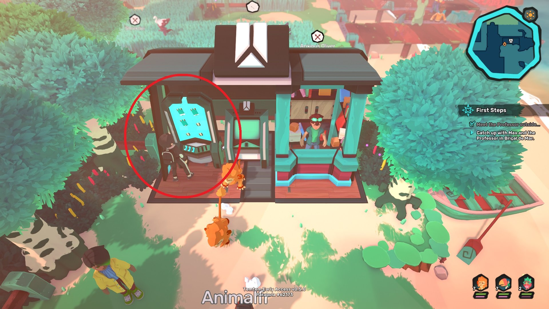 You can heal at mini-Temporiums if you're outside of a town area like Brical de Mar in Temtem.