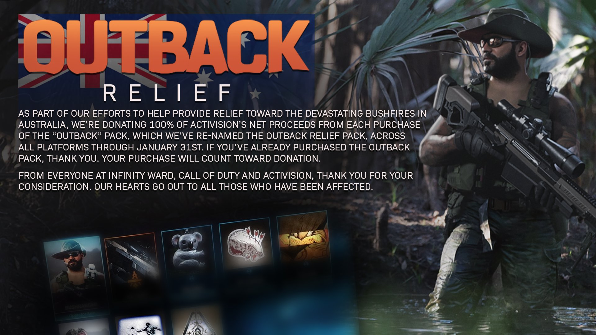 Infinity Ward donating Call of Duty 'Outback' purchases to Australian fire relief