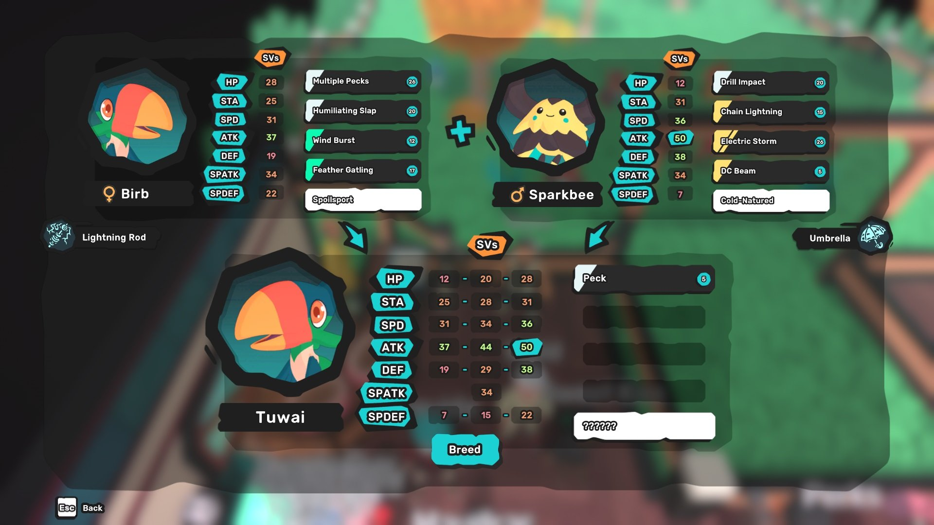Improving offspring stats in Temtem