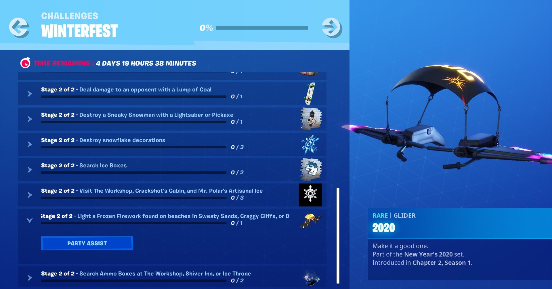 Complete the Frozen Fireworks challenge to unlock the 2020 Glider in Fortnite.