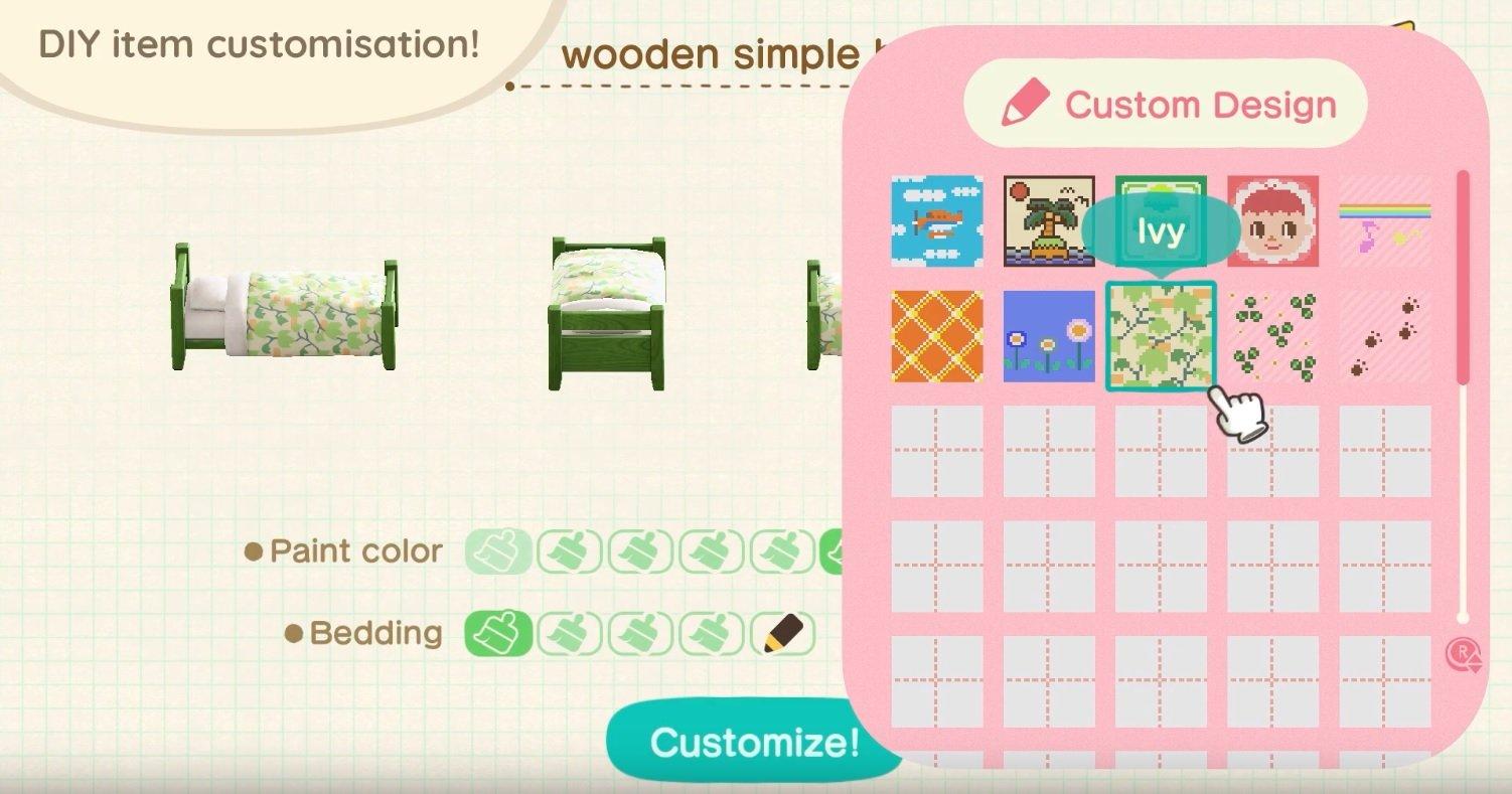 Animal Crossing New Horizons furniture customization