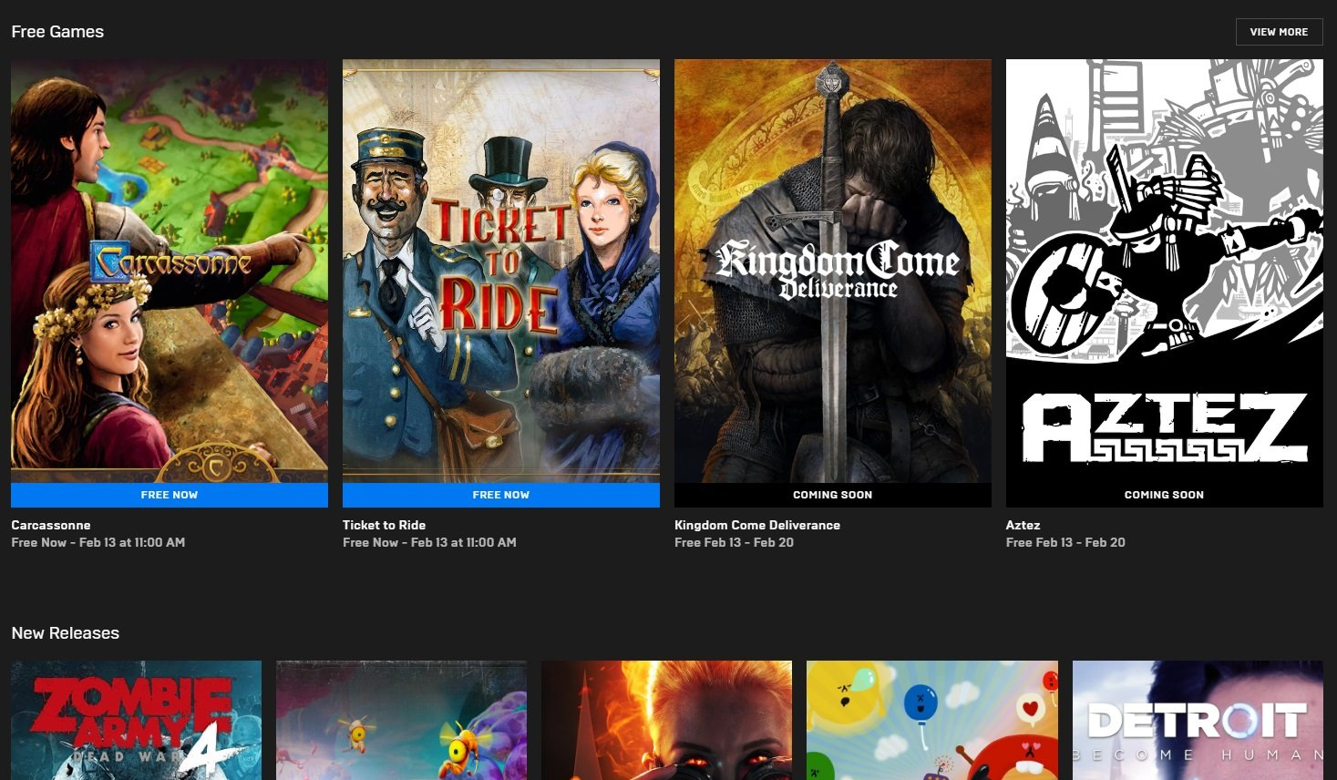 Epic Games Store offers 4 free games in February