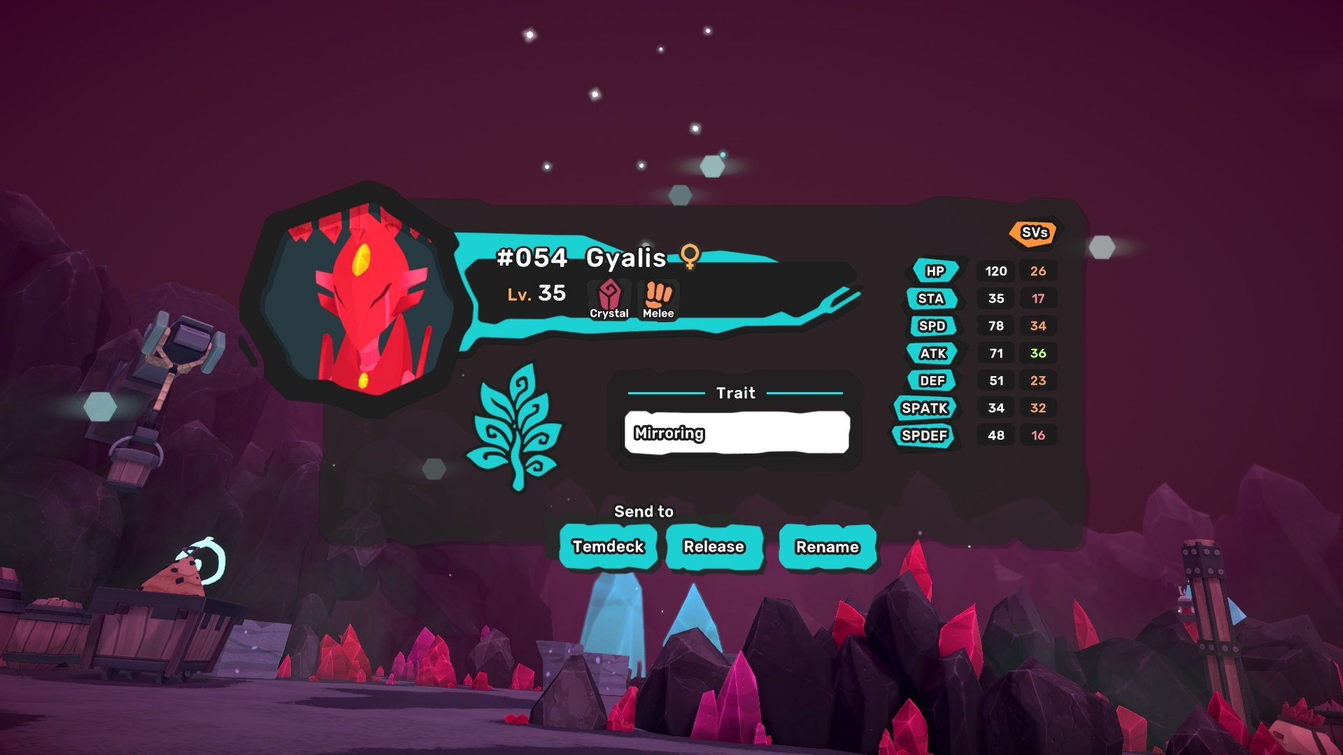Gyalis is a Crystal and Melee Type that will spawn at Level 34 or Level 35 in Temtem.