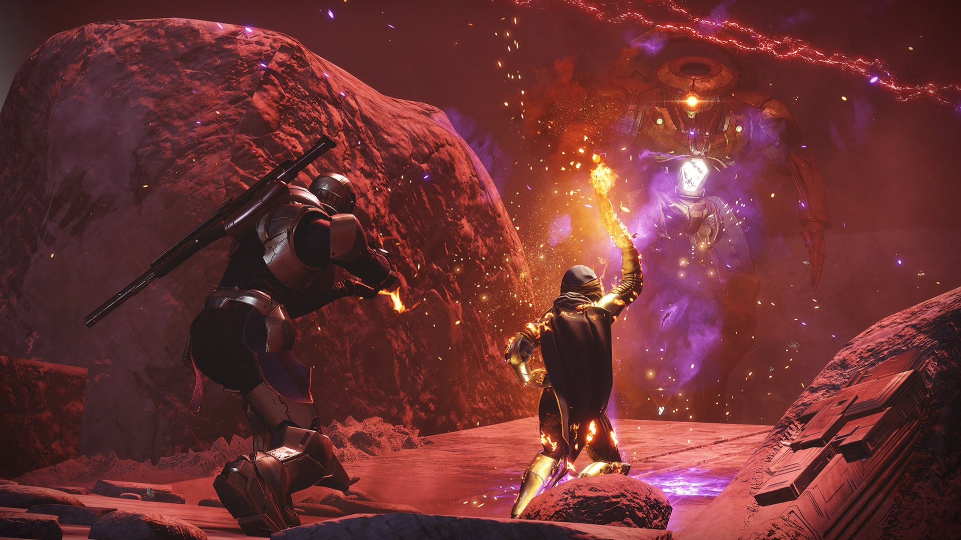 Get the season of dawn badge in destiny 2 - two guardians explore a cave