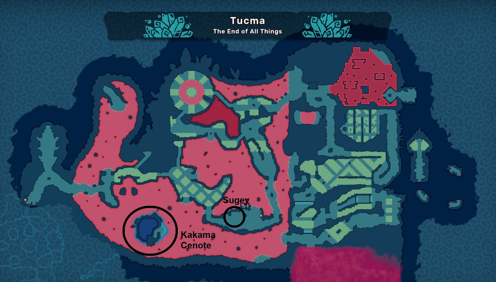 A map of locations you'll visit in Tucma for the Beached Narwhal quest in Temtem.