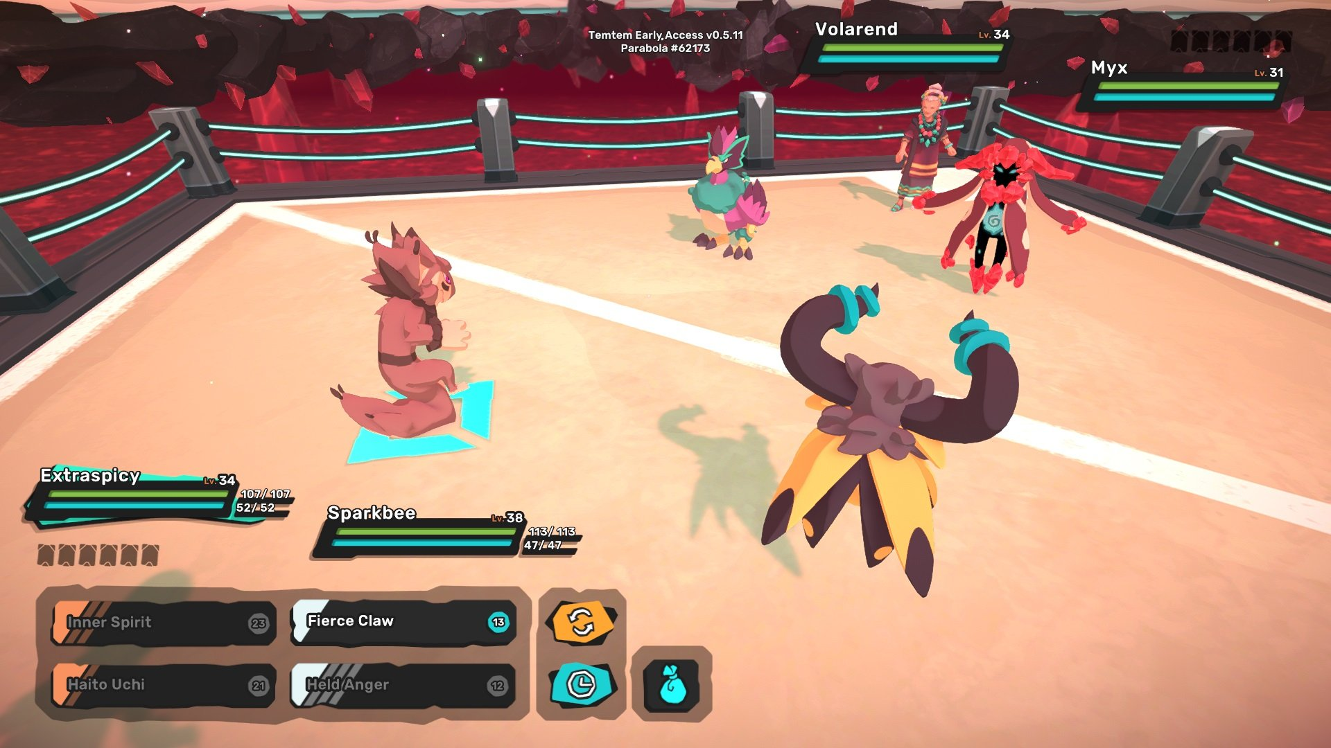 You'll want to strategize which Temtem to send out first to avoid losing valuable Temtem early on in the fight against Yareni.