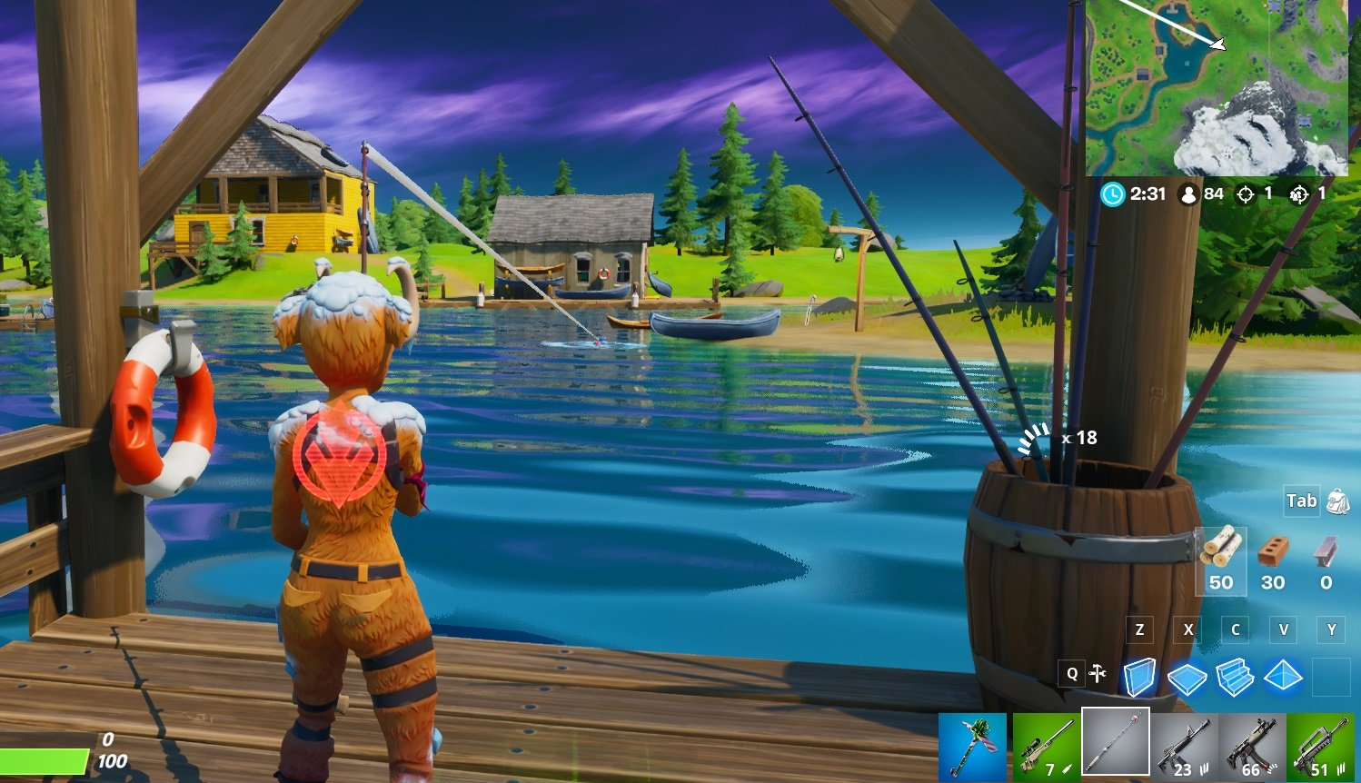Where to catch a fish at Lake Canoe in Fortnite