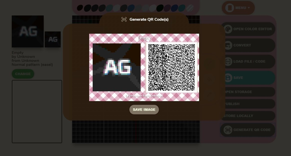 With your generated QR code, scan it with your phone, then add it using Custom Designs in Animal Crossing: New Horizons.