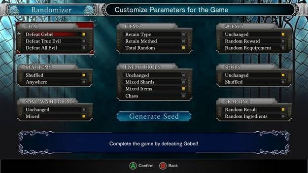 Bloodstained Randomizer mode options © 505 Games / Koji Igarashi