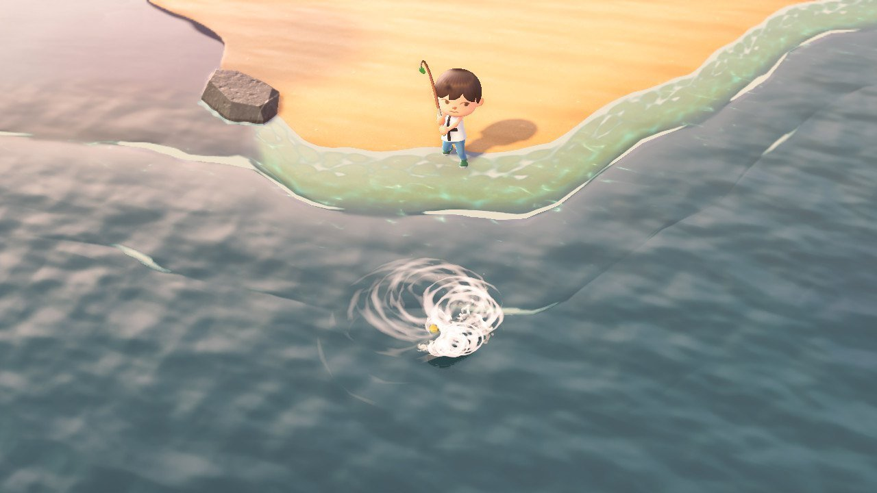 You'll know your timing was successful when the fish circles around and the water ripples in Animal Crossing: New Horizons.