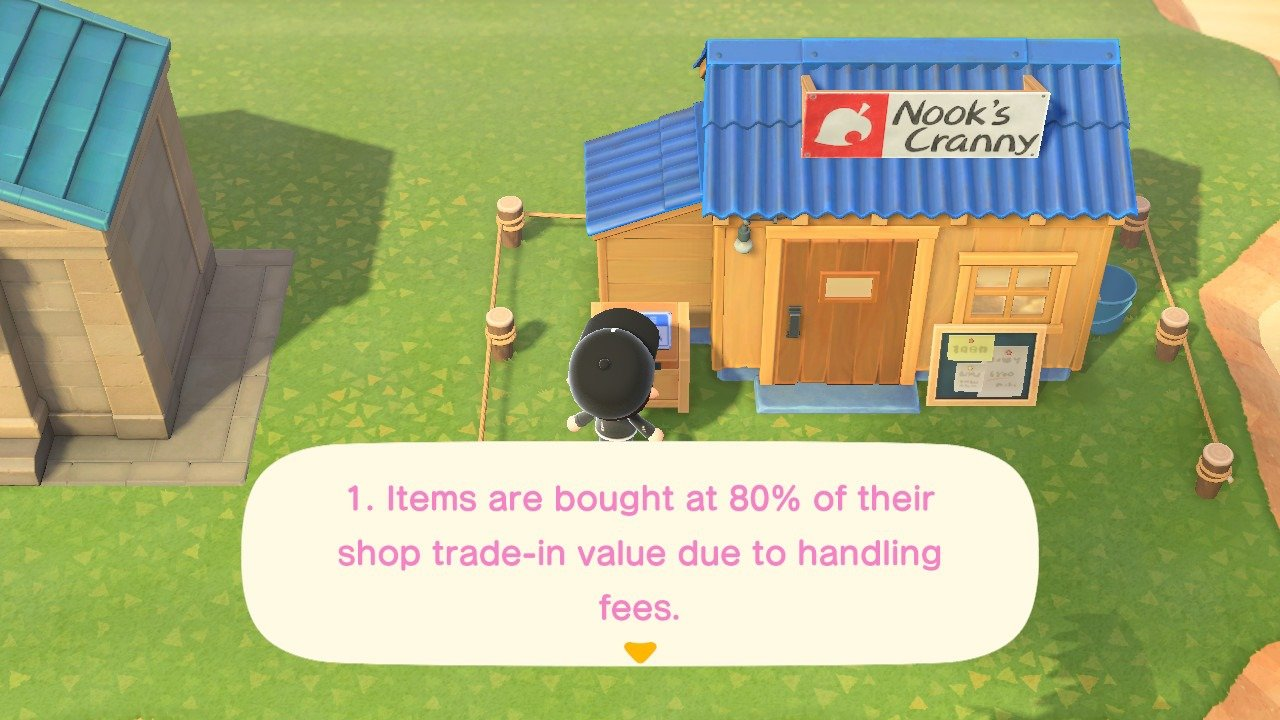 The Drop-Off Box buys items at 80% their normal value, deducting 20% in fees in Animal Crossing: New Horizons.