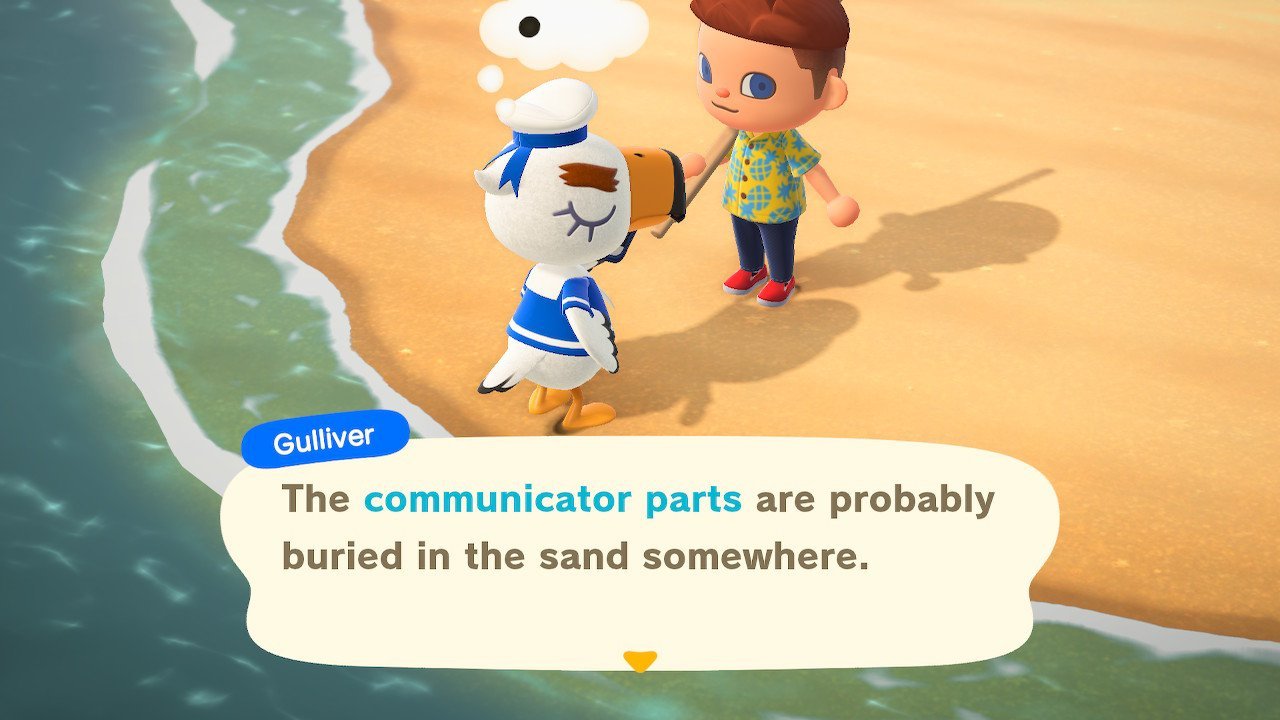 Find Gullivers communicator parts in animal crossing new Horizons
