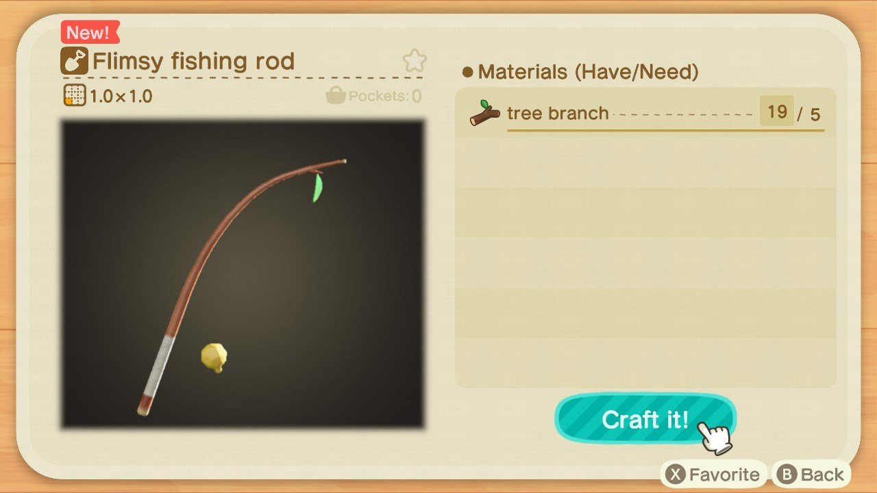 How to craft a Fishing Rod in Animal Crossing: New Horizons