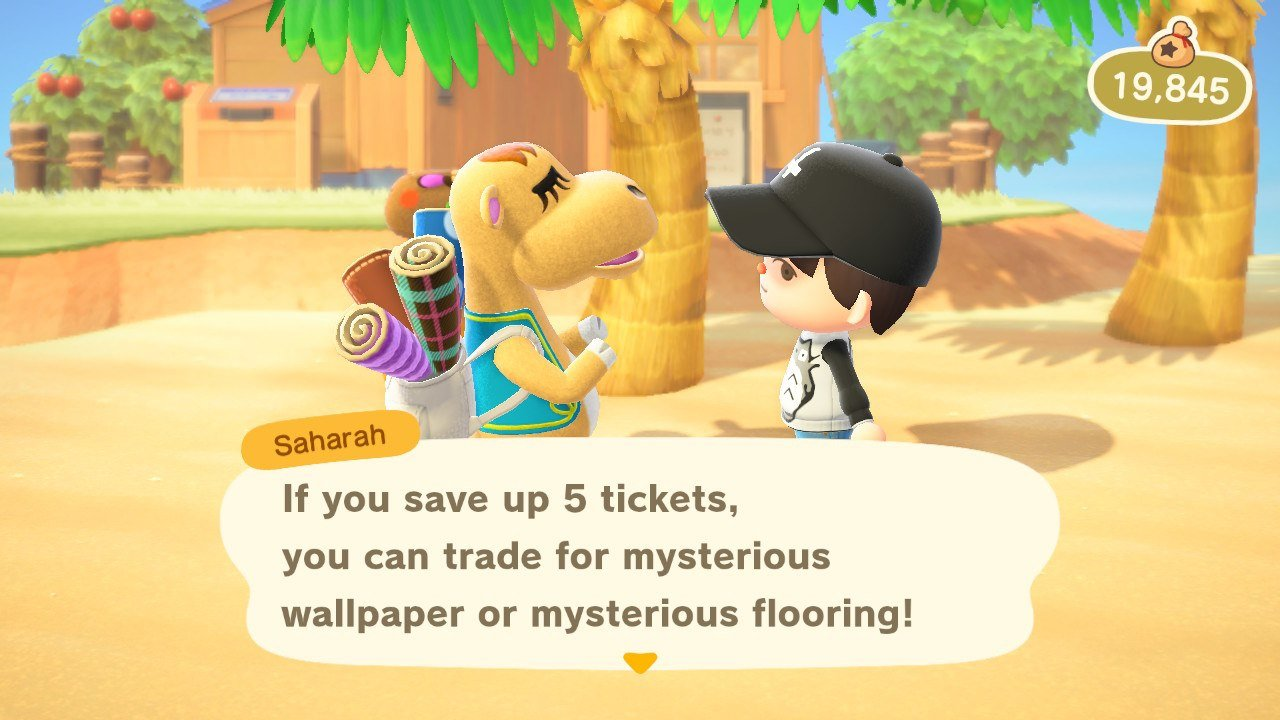 Buy rugs to earn Exchange Tickets, which can be used to get a free flooring or wallpaper item from Saharah in Animal Crossing: New Horizons.