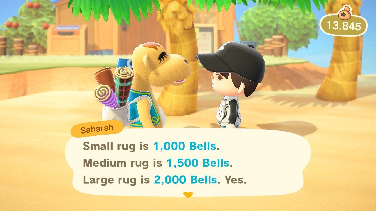 Buy rugs, flooring, and wallpaper from Saharah in Animal Crossing: New Horizons