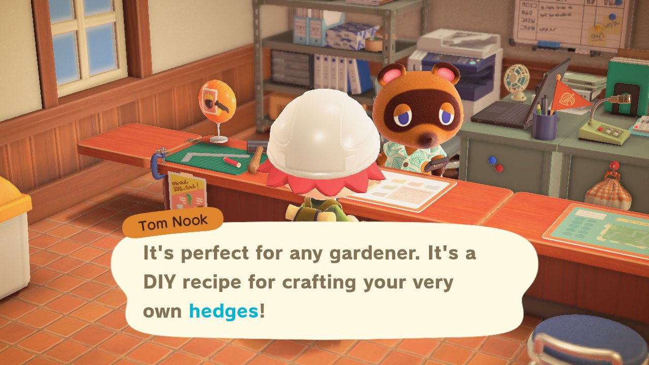 Talk to Tom Nook to get the Hedge fence recipe in Animal Crossing: New Horizons.