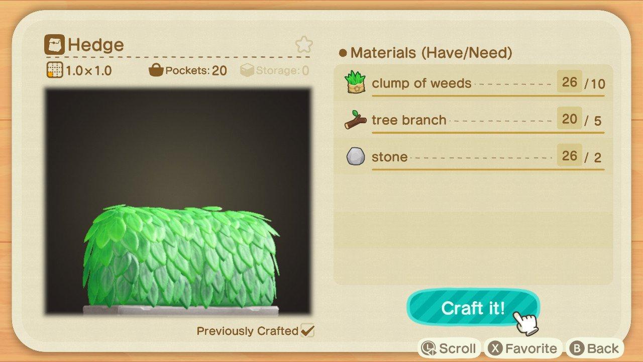 Animal Crossing: New Horizons hedge fence recipe