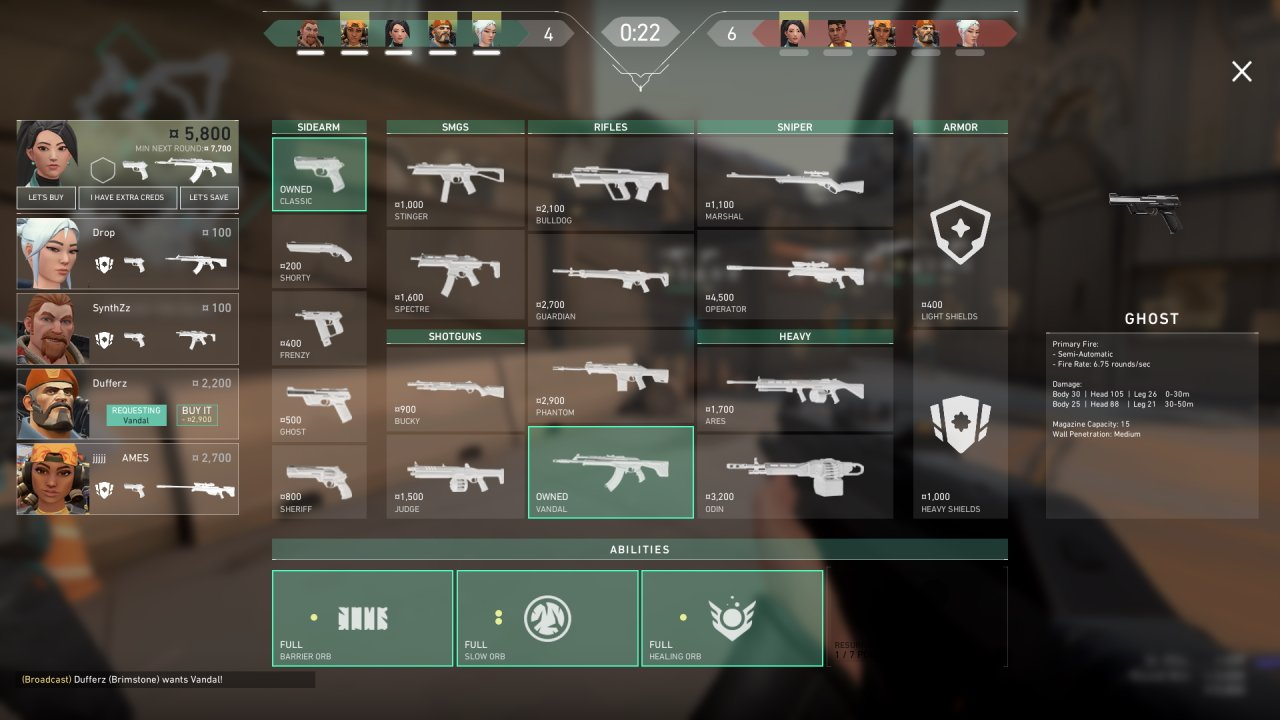 All Valorant weapon stats