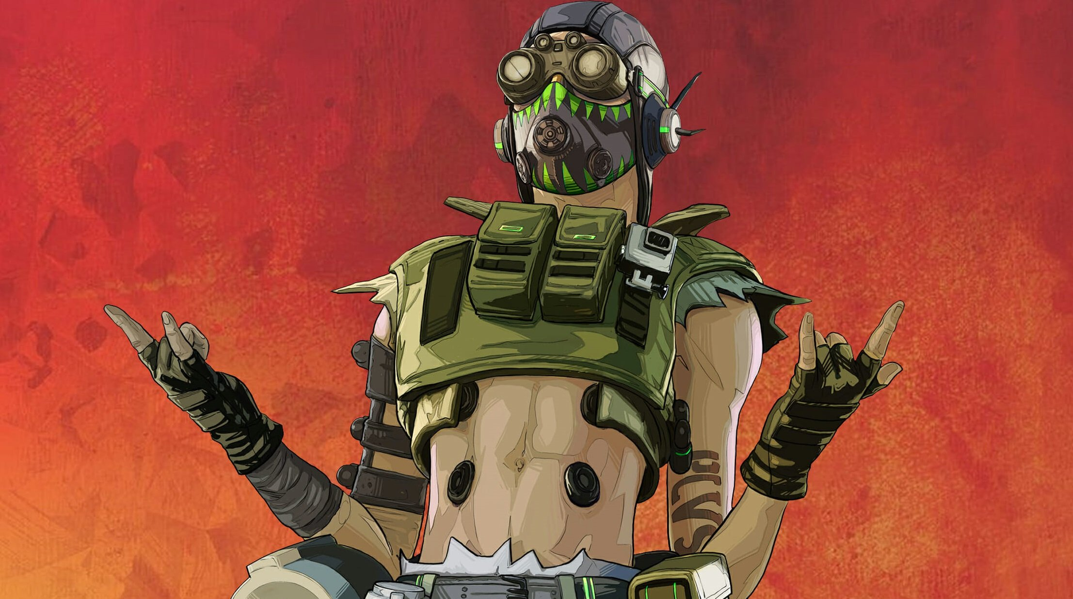 Octane from Apex Legends has a stylish face mask decorated with green teeth.
