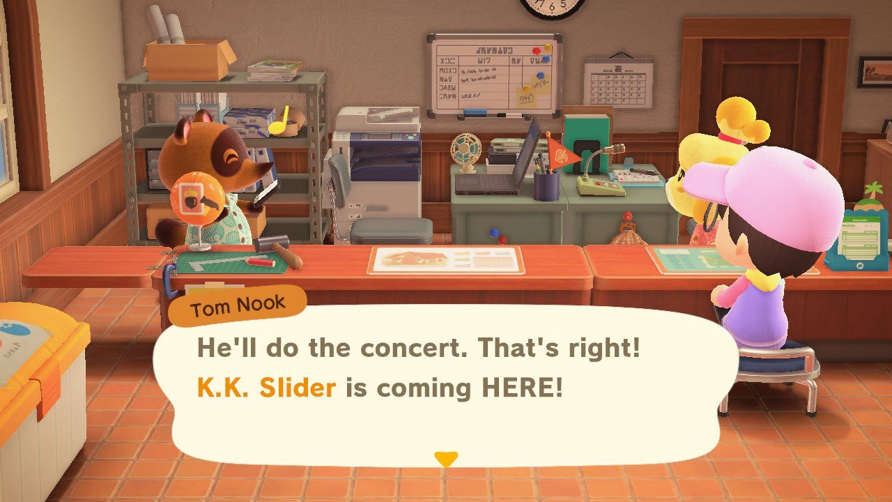 After Isabelle says your island has a 3 Star Rating, Tom Nook will call K.K. Slider and invite him to perform in Animal Crossing: New Horizons.