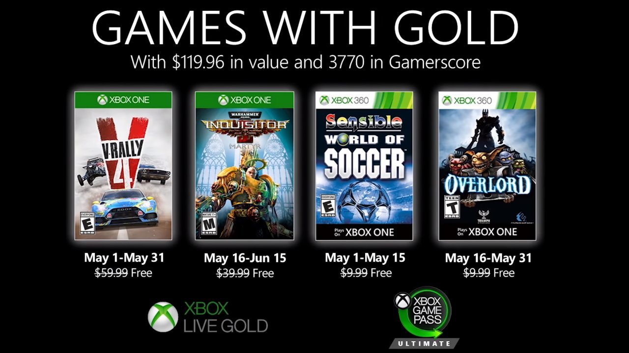 Xbox Games with Gold may 2020 lineup