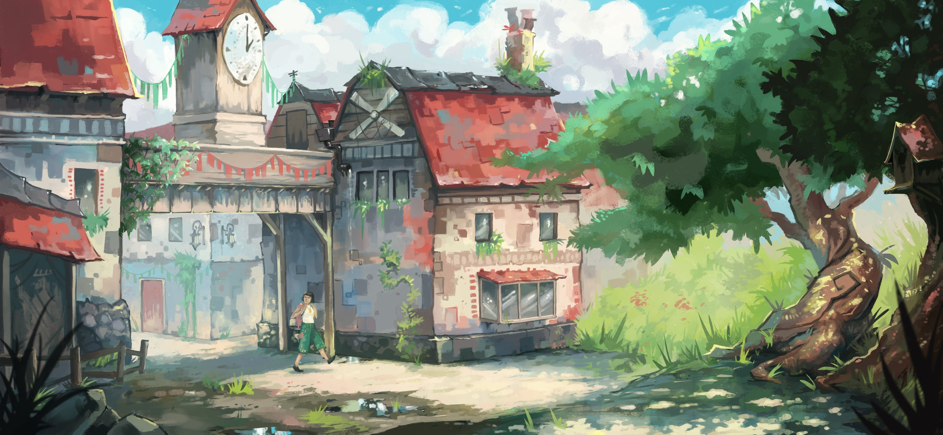 Anna's personal art is a painterly style, which is sometimes interpreted into game environments by other artists.