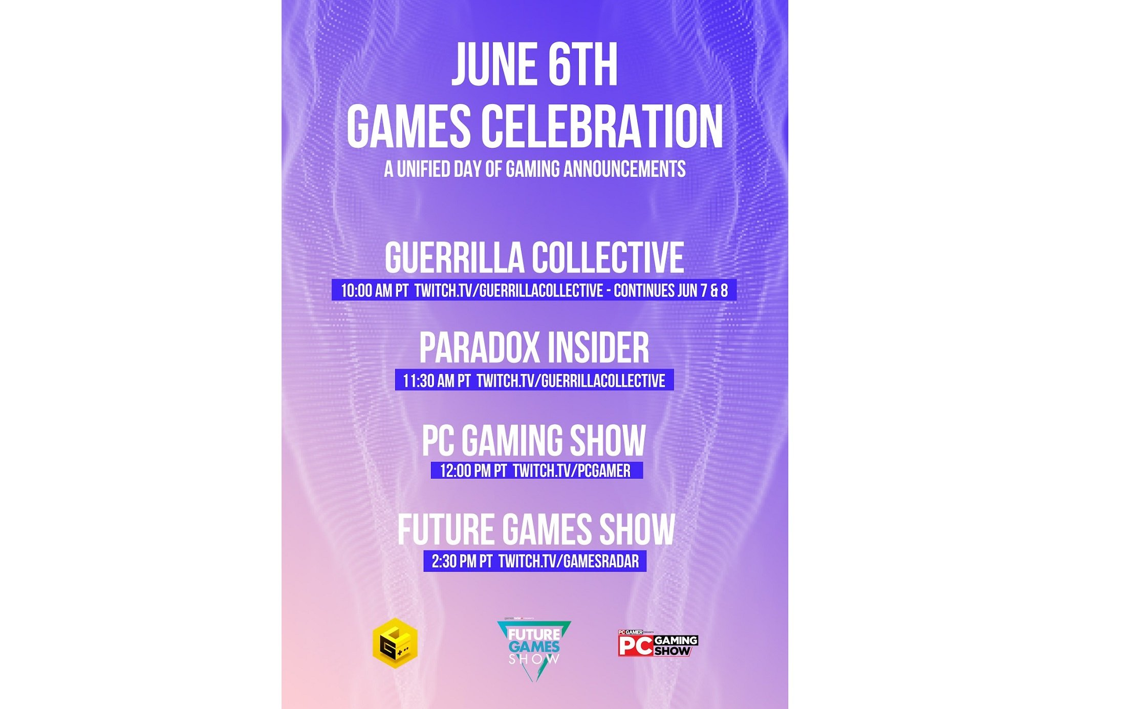 PC Gaming Show will air as part of the June 6th Game Celebration